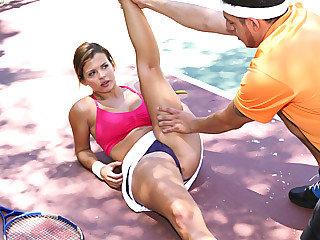 Beauteous brat chick Keisha Grey gets banged by her tennis trainor