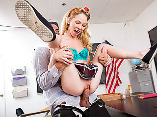 18yo blonde schoolgirl Angel sucks and fucks her teacher in classroom
